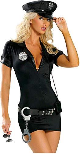 WANLOVE Mujer lencería Sexy Uniforme de policía Sexy para Juego Sexy Cosplay Uniforme de policía lencería-Negro_XXL