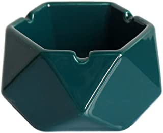 BEIXI Geometric Ceramic Ashtray with Lid Cigarette Ash Tray for Home Office Hotel Table Decoration (Green)