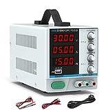 Fuente Alimentación Regulable CC, Dr.meter 0-30V/0-5A Digital Suministro eléctrico de laboratorio de CC con cables de pinza y cable de alimentación UE
