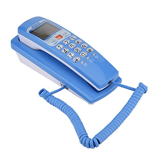 Topiky Teléfono con Cable,teléfono Fijo de Pared,teléfono Fijo con FSK/DTMF estándar, identificador de Llamadas,Altavoz,estación de extensión de Escritorio de Cable para el hogar/Oficina/Hotel(Azul)