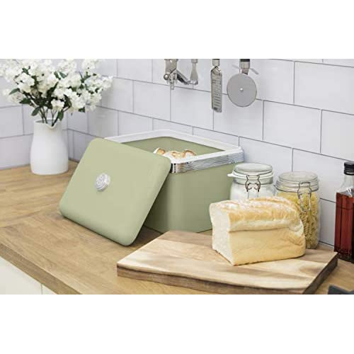 Swan Retro Bread Bin - Green - 18 Litre Storage Capacity