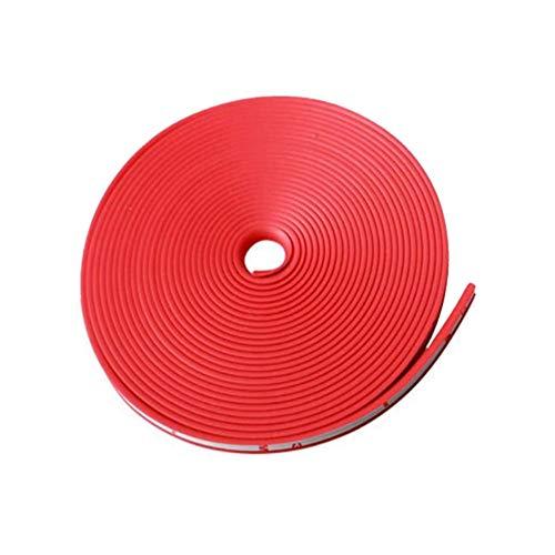 Voarge - Anillo protector para rueda de coche, protección de la línea de goma, decoración de rueda, tiras antiácaros, 8 m x 8,2 mm, color rojo