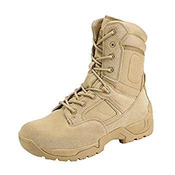 NORTIV 8 Men s Military Tactical Work Boots Side Zip Hiking Motorcycle Combat Boots Sand Size 8.5 M US Response