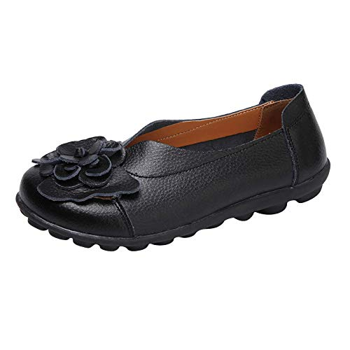 DAIFINEY Damen Mokassin Slipper Loafers Retro Blumen Comfort Schuhe Hüttenschuhe Schlupfschuh Slip on modisch Freizeitschuh Bequeme Flache(1-Schwarz/Black,40)