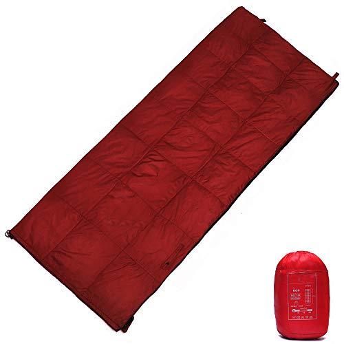 WODEPP Indoor Schlafsack Daune, Deckenschlafsacke Mit Kompressionsbeutel, Komforttemperatur 5°C - 25°C, 4 Jahreszeiten, Bett, Camping, Wandern, 680G,Rot