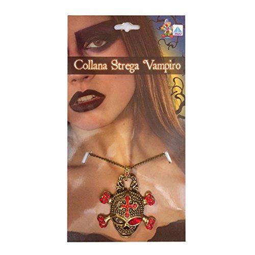 ZeusParty Collana Strega Vampiro con Teschio Decorata con Gemme per Halloween