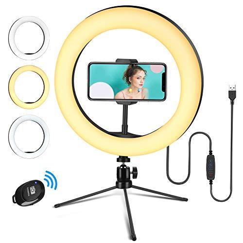 Linkax Aro de Luz Trípode, 10' Luz de Anillo LED para Móvil con 3 Colores & 10 Niveles de Brillo Regulables Control Remoto Inalámbrico para Selfie Maquillaje Youtube TIK Tok Live