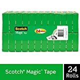 Scotch Magic Tape, 24 Rolls, Numerous Applications, Invisible, Engineered for Repairing, 3/4 x 1000 Inches, Boxed (810K24)