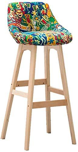 Zfggd Home Bar Muebles de madera Banqueta Taburete alto Taburete desayuno Comedor for el hogar Cocina Barra Silla for uso profesional con respaldo y verde de tela Cojín Concise Style - Altura 79.5cm r