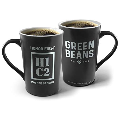 Green Beans Coffee Ceramic Mug, 16oz, Set of 2, H1C2'Honor First, Coffee Second' (Black)