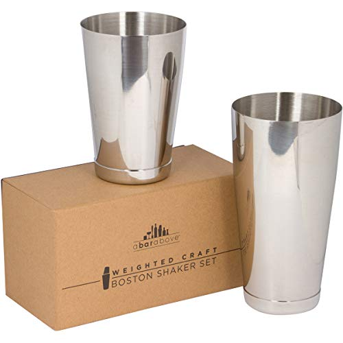 Premium Weighted Cocktail Shaker Set: Two-Piece Pro Boston Shaker Set. 18oz & 28oz Martini Drink Shaker