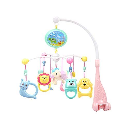 Mobiele muzikale babyweegschaal, 360 graden draaibaar, afstandsbediening, bedbel, vroege educatie, kinderbed, speelgoed met beamer en muziekdoos voor opwinden, verbeteren gevoel van veiligheid roze