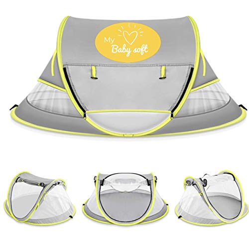 (MyBABYSOFT) Baby Beach Tent: UPF 50+, Mosquito net, Play Area, Sleep/Bedtime, Outdoor Travel, Moisture-Wicking Fabric, with Added...