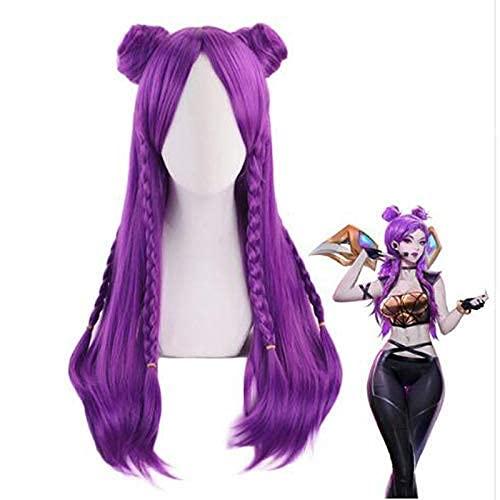 Chtom K/Da Kaisa Long Purple Braid WIG CON BUN COSTURA COSPLAY KDA KAI'SA Mujeres Resistente al calor Pelucas de juego de la fiesta de la fiesta del pelo sintético