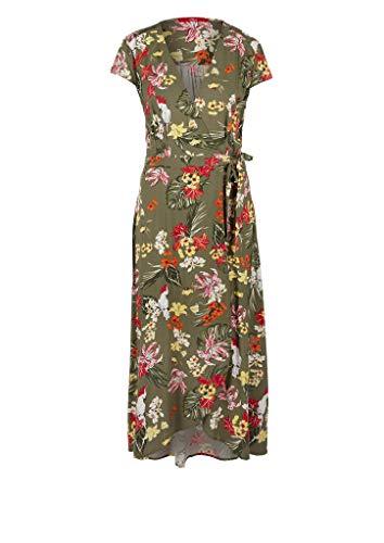 s.Oliver RED LABEL Damen Wickelkleid mit V-Ausschnitt khaki/oliv AOP 46