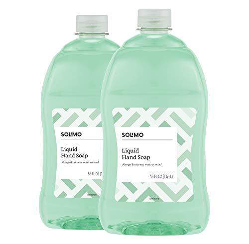 Amazon Brand - Solimo Liquid Hand Soap Refill, Mango and Coconut Water Scent, Triclosan-Free, 56 Fluid Ounces, Pack of 2