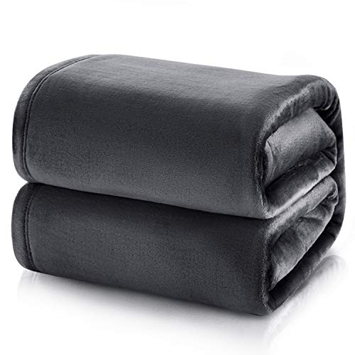 Bedsure Flannel Blankets Bedspread Queen Size Dark Grey Large Bed...