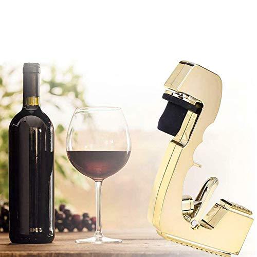 Pistola pulverizadora de champán, hecha a mano, de aleación, duradera, tapón de vino y boquilla para regalos de fiesta de cumpleaños, color dorado champán