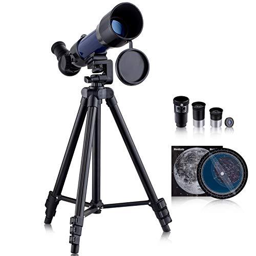 Telescopios para niños telescopios astronómicos refractores HD para principiantes, adultos - trípode ajustable, adaptador de teléfono, mapa lunar, filtro lunar