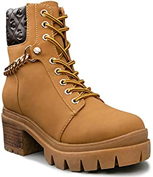 Juicy Couture Women s Question Lace Up Hiker Boot with Heel and Juicy Chain & Crown Stud Lug Bottom Wheat/Brown 8