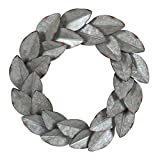 Kate and Laurel Magnolia Wreath Hanging Galvanized Metal Wall Art, 21 inch Diameter