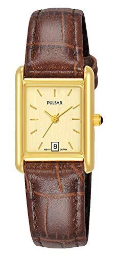 Pulsar Damen Analog Quarz Uhr mit Leder Armband PH7486