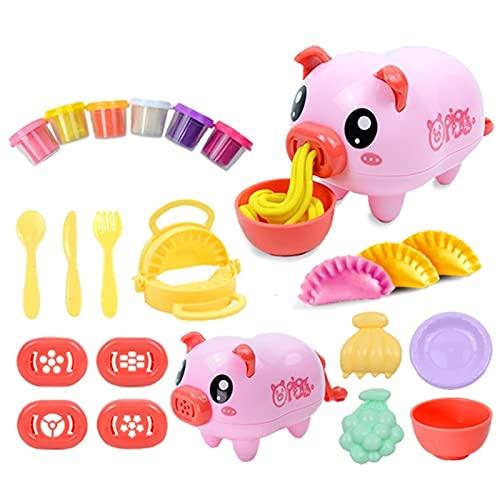 LUBINGT Pasta Maker Machine Kit Für Kinder Niedliche Schweinennudeln Knödel Maker 3D Clay Mold Werkzeug Set DIY Nicht giftige Plastiliner Modellierung Pretend Spielteig Spielzeug (Color : PK)