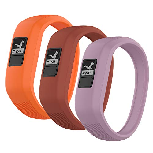 (3 Pack) Seltureone Band Compatible for Garmin Vivofit jr,jr 2,3 Bands, All-in-one Silicon Stretchy Replacement Watch Bands for Kids Boys Girls Small Large (No Tracker)- Red,Orange,Lavender (Large)