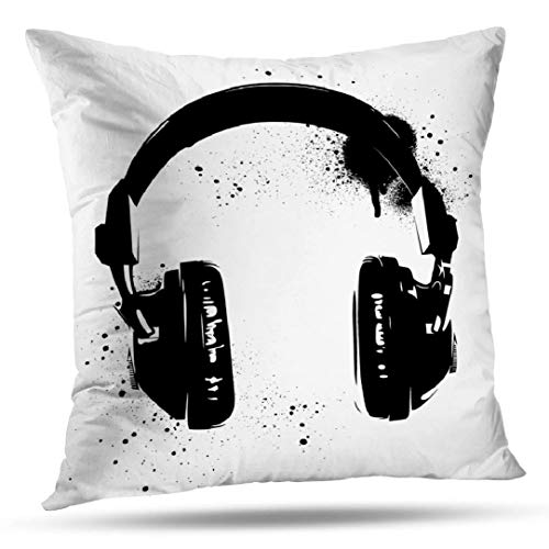 KJONG Hip Hop Headphones Zippered Pillow Cover,18X18 inch Square Decorative Throw Pillow Case Fashion Style Cushion Covers(2 Sides Print)