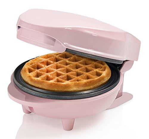 Bestron AMW500P - Mini gofrera (metal y plástico), color rosa