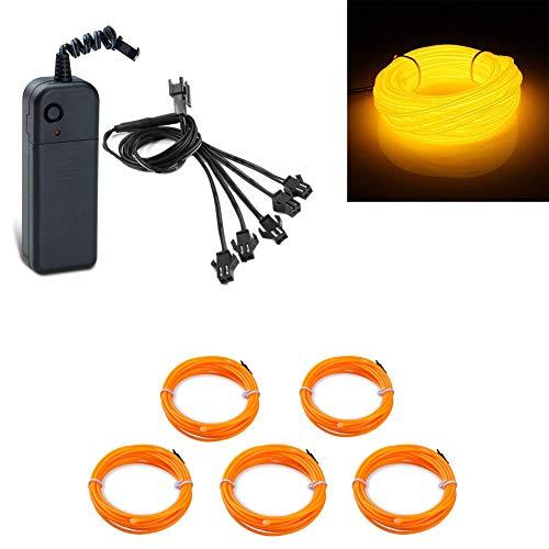 5x1meter EL Wire Tube Rope alimentato a batteria flessibile luce al neon 3 modalità filo elettroluminescente per auto decorazione di cerimonia nuziale con controller(Giallo)