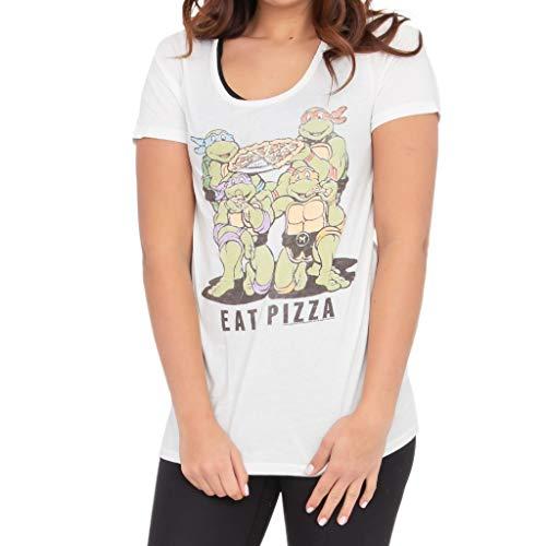 Junk Food Teenage Mutant Ninja Turtles Eat Pizza Juniors White T-Shirt (Adult XX-Large)