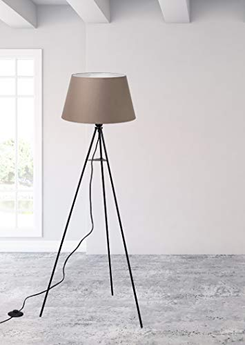 Trango 1522BL BROWNIE - Lámpara de pie con trípode, incluye bombilla LED E27, luz blanca cálida, con pantalla de tela en marrón, trípode y altura: 150 cm