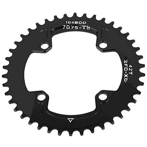 VGEBY1 Fahrrad Chian Ring, 2 Größe 104 MM 40 T 42 T Schmale Breite Fahrrad Einzel Kettenblatt Radfahren Zubehör Ersatz(42T(104BCD))