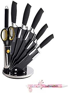 Royalty Line RL-COL8-W, 8Pcs True Ceramic Knife Set, Kitchen Knife Set, Holder Stand, Black