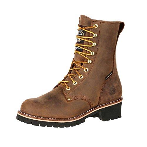 Georgia Boot Steel Toe Waterproof 400G Insulated Logger Work Boot Size 10.5(W) Brown