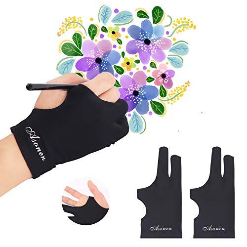 Asonen - Guanti da disegno per disegno, 2 pezzi, spessore singolo strato, a due dita, per schizzi, inchiostro, colorare e disegno digitale su tavolette grafiche, mani destra e sinistra universali