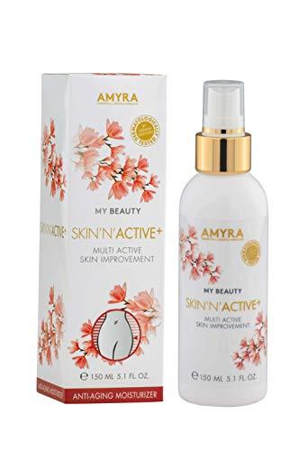 AMYRA SKIN´N´ACTIVE+ Spray 150 ml con acido ialuronico, estratto di Kombucha, Vitamina C+E per la riduzione immediata delle rughe