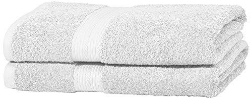 AmazonBasics Handtuch-Set, ausbleichsicher, 2 Badetücher, HellWeiß, 100% Baumwolle 500g/m²