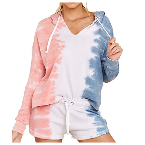 Women's V-Neck Hooded Tie-Dye Printed Long Sleeve Tops Shorts Home Service 2 Piece Suit E-Scenery Pink
