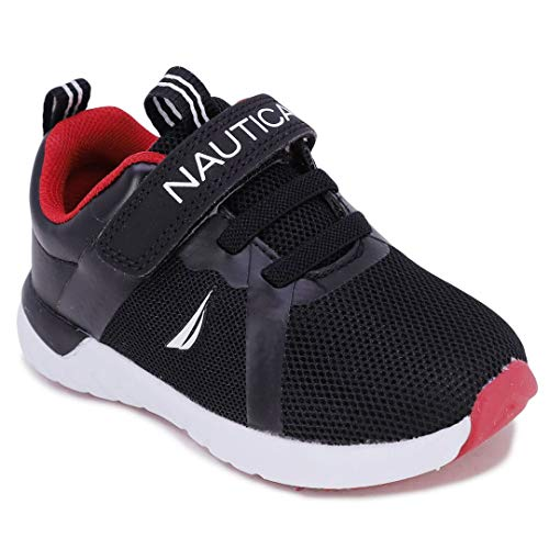 Nautica Kids Boys Girls Fashion Sneaker Athletic Running Shoe with Stap for Toddler and Little Kids-Jurnee Saga-Black Tonal-6