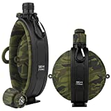 Collapsible Military Water Bottle - Newly Designed Silicone Water Kettle Canteen with Compass Bottle Cap for Hiking Camping Outdoors, BPA Free 19.8 oz (Green Camo)