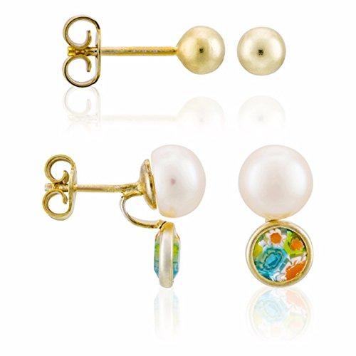 Córdoba Jewels  Set de pendientes en plata de Ley 925 baña en oro con perlas naturales de cultivo y piedra de murano. Diseño Perlas & Murano