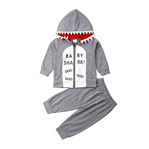 Conjunto de ropa de invierno para bebés y niños de manga larga con capucha, sudaderas y pantalones para recién nacidos, Tiburón, 12-18 Meses