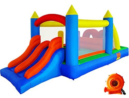 Ballsea Hüpfburg (versione ktualizzata) casetta gonfiabile con soffietto, torre da gioco per bambini con scivolo, trampolino, trampolino, treno per bambini (488 x 240 x 190 cm)