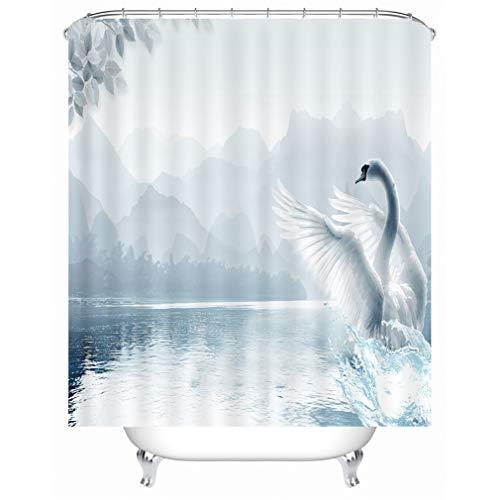 X-Labor Tier Motiv Duschvorhang Wasserdicht Stoff Anti-Schimmel inkl. 12 Duschvorhangringe Waschbar Badewannevorhang 240x200cm Schwan