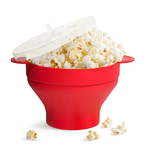 New ZRXRY Microwave Popcorn Maker, Collapsible Silicone Pop Corn Hot Air Maker with Lid and Handles,...