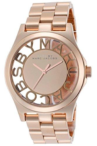 [マークバイマークジェイコブス] MARC BY MARC JACOBS 腕時計 マークバイマークジェイコブス 大きめサイズ、スケルトンダイヤルとハイポリッシュピンクゴールドカラーのブレスウオッチ MBM3207 [並行輸入品]