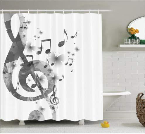 fptcustom Musik Mit Notenschlüssel Instrument Monochrom Kreative Rhythmische Verzierten Bild Muster, Polyester Bad Duschvorhang 180X200 cm