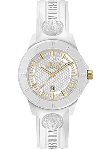 Versus Versace Tokyo - Reloj de pulsera para hombre (42 mm, correa de silicona), blanco/dorado, Correas.